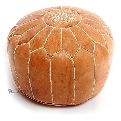 Amazon Stuffed Moroccan Tan Leather Pouf Handmade Pouffe Stunning Pouf On Wheels