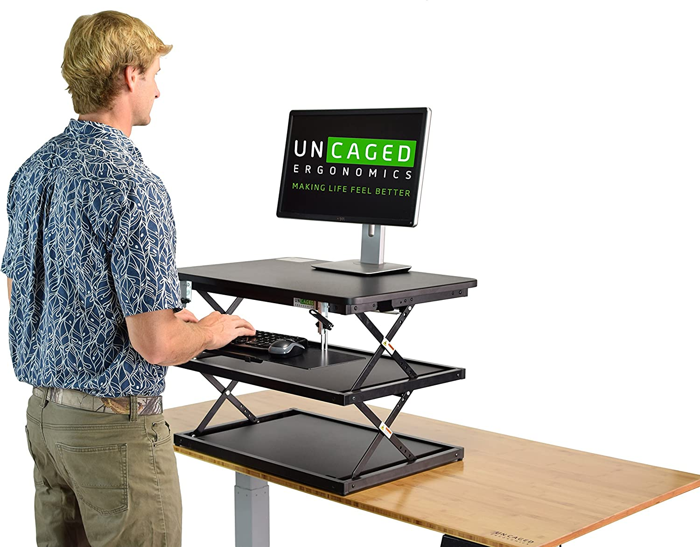 Altezza Regolabile Scrivania in Piedi Convertitore,Premio Compact Sit Standup Computer Portatile Aumento Workstation con Ergonomico Tavolo