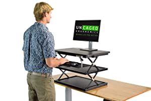 CHANGEdesk 2- Tall Ergonomic Laptop & Desktop Standing Desk Conversion + Height Adjustable Keyboard Tray Easy Sit to Stand Up Computer Riser