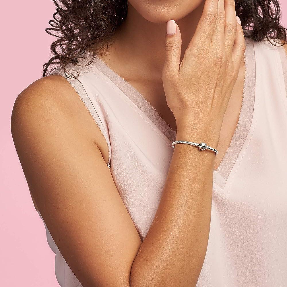 "Amazon.com: PANDORA Jewelry Iconic Moments Snake Chain Charm Sterling  Silver Bracelet, 8.3"": Jewelry"