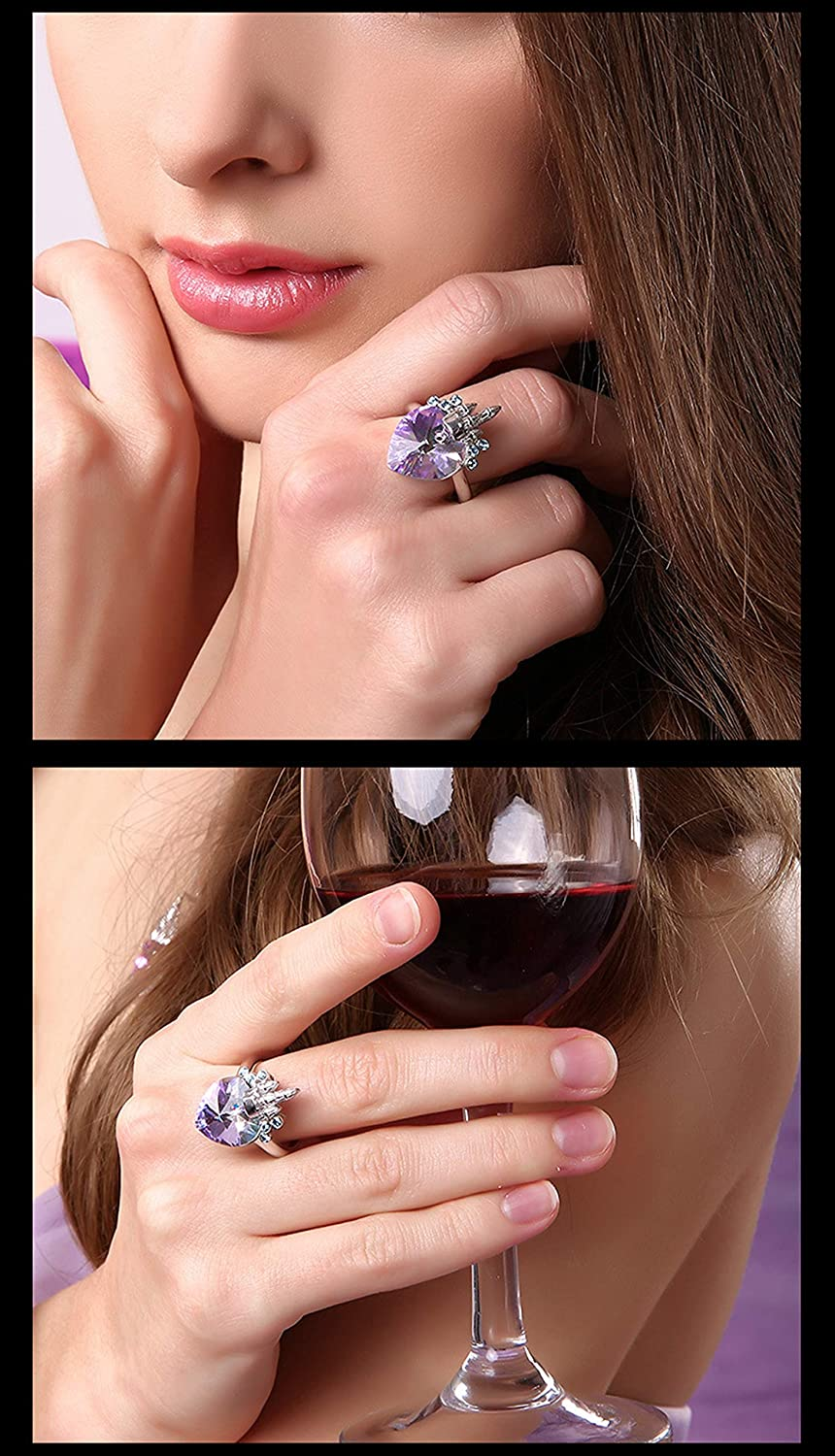 Silver Material Ring Adults Heart Wedding Rings Anniversary