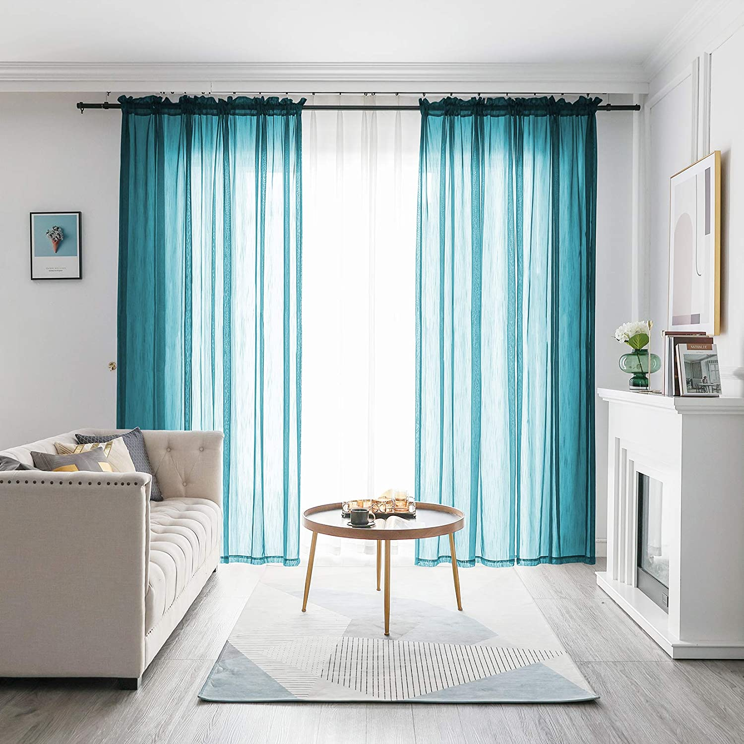 FY FIBER HOUSE Linen Look Sheer Curtains Window Treatments Voile Panels 84 Inch Length for Sliding Glass Doors Set of 2 Panels 52Wx84L Inch Teal 1 Pair