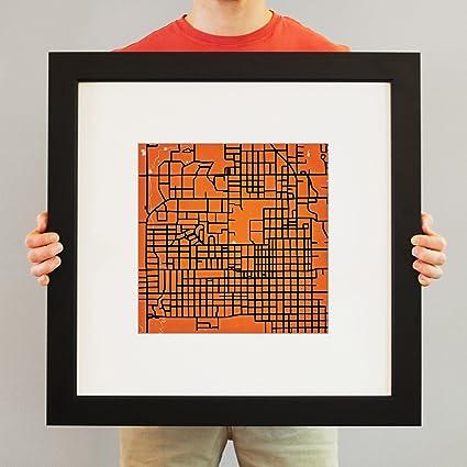 Amazon Com Oklahoma State University Campus Map Art 23 Frame