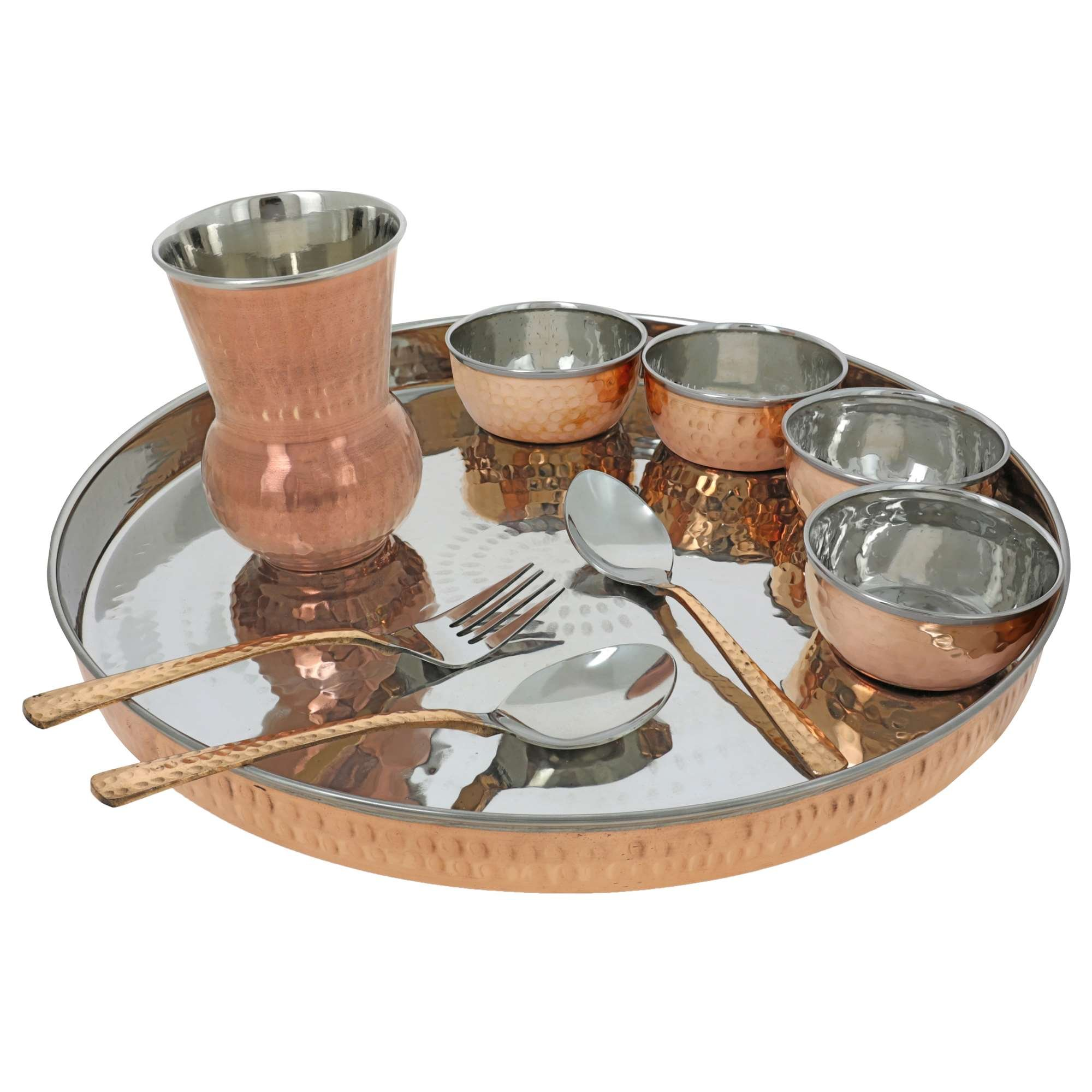 Traditional Dinner Set Copper Thali for Indian Dishes Service for 12