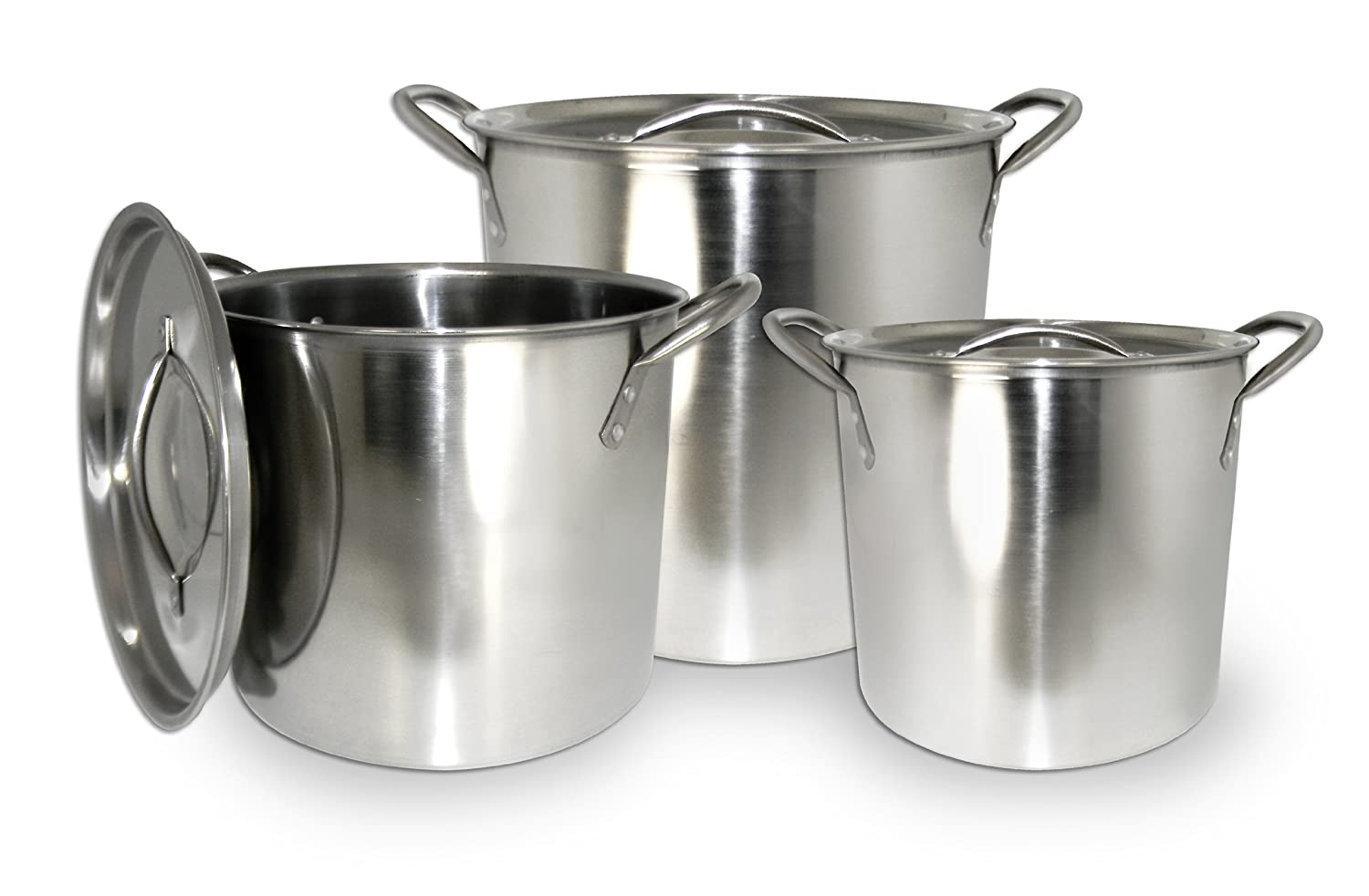 ExcelSteel Stainless Steel Stockpot with Lids, Set of 3 570