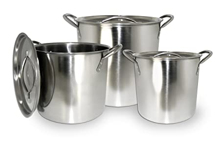 ExcelSteel 570 Stainless Steel Stockpot with with Lids, Set of 3, 3 Piece, Silver
