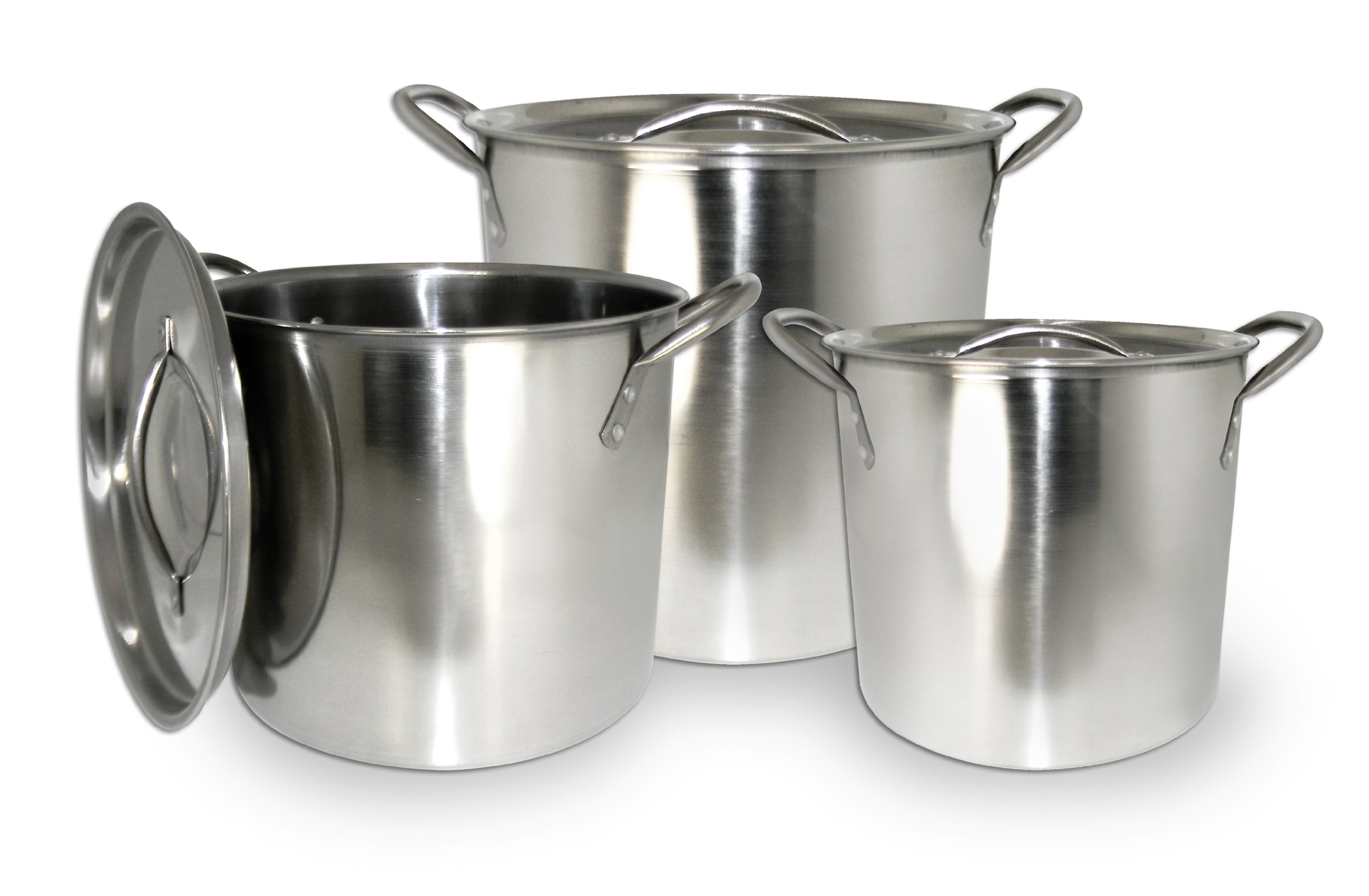 Excelsteel Set Of 3 Stainless Steel Stockpot With Lids by ExcelSteel (Image #1)