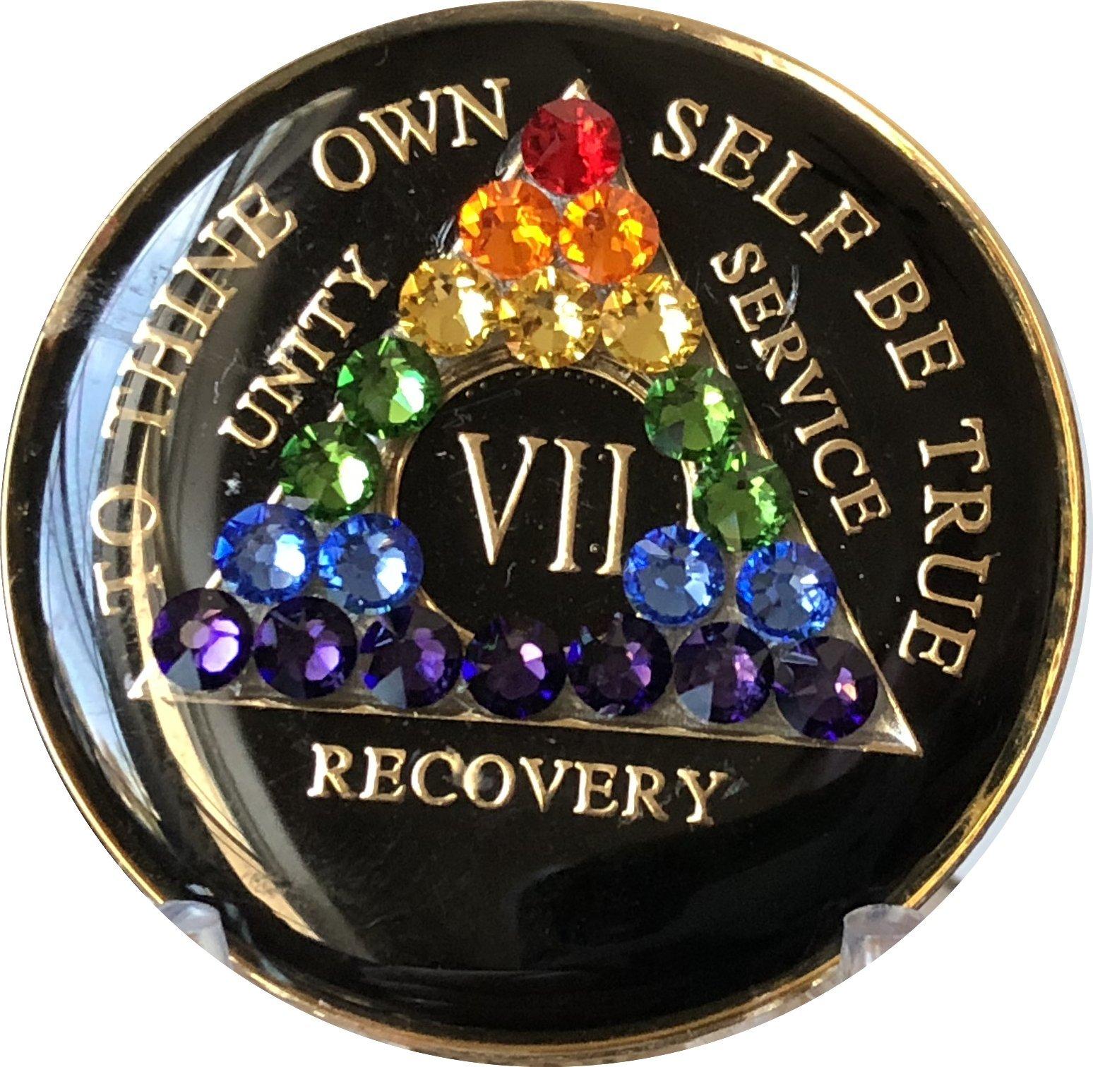 7 Year Black Rainbow Swarovski Crystal Tri-Plate AA Medallion Chip VII