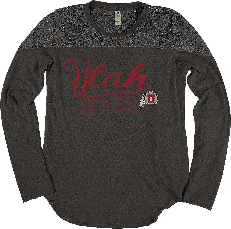 NCAA Utah Utes Adult Women NCAA Womens Dyed Long Sleeve Yoke Tee,Medium,Black