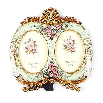 Amazon.com: Kirinstores Retro Double Photo Frame European Style Gold ...