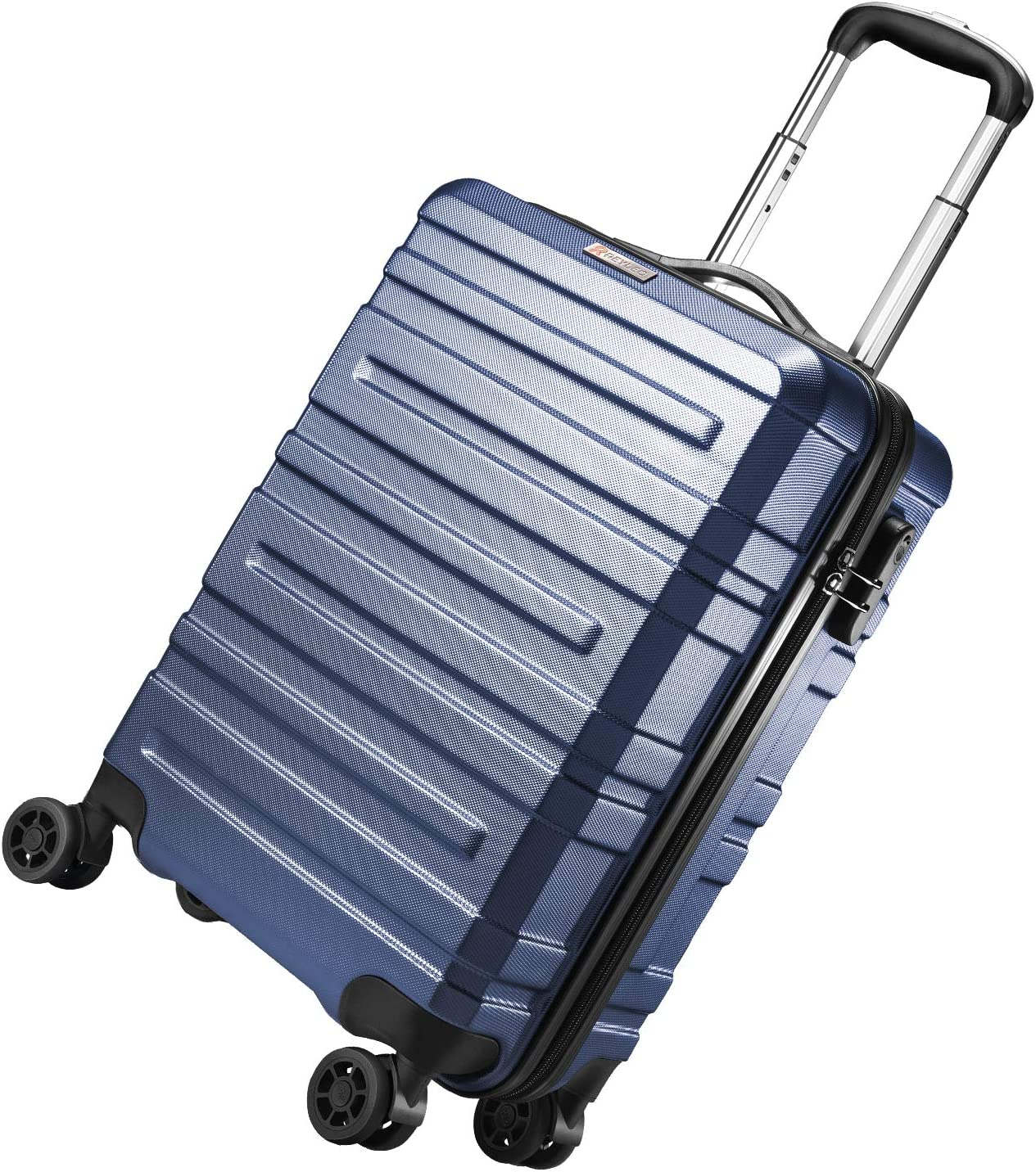 REYLEO Valise Trolley Cabine 55cm Bleue Valise Rigide 8 Roues pivotantes 35L Rigide Valise /à Code r/ésistante