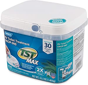 Camco TST MAX Ocean Scent RV Drop-Ins - Eliminates Odors and Aids in Breaking Down Holding Tank Waste - Includes 30 per Bucket (41615)