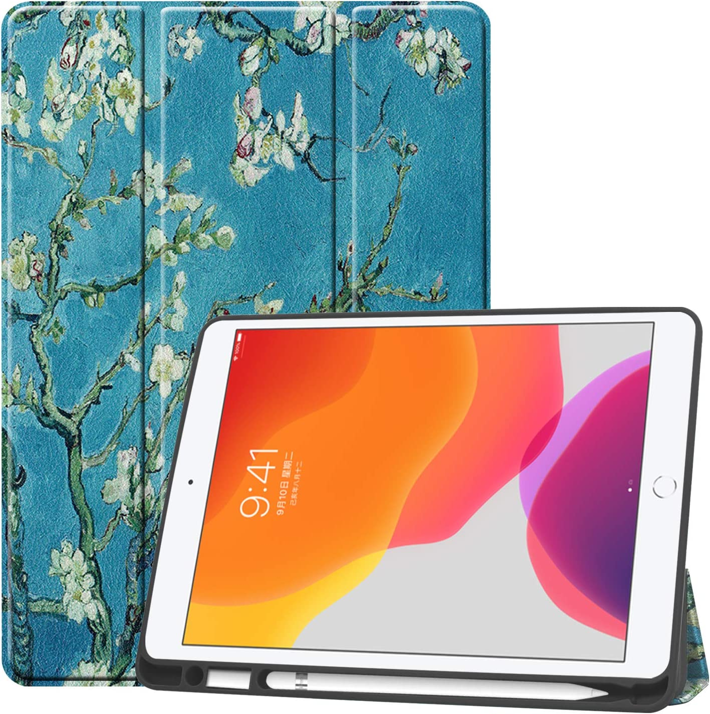 New iPad 10.2 Case with Pencil Holder - Slim Tri-Fold Case for iPad 8th Generation 2020/ iPad 7th Generation 2019 Apple Tablet, with Microfiber Inner Auto Wake/Sleep Protective Smart Cover (Apricot)