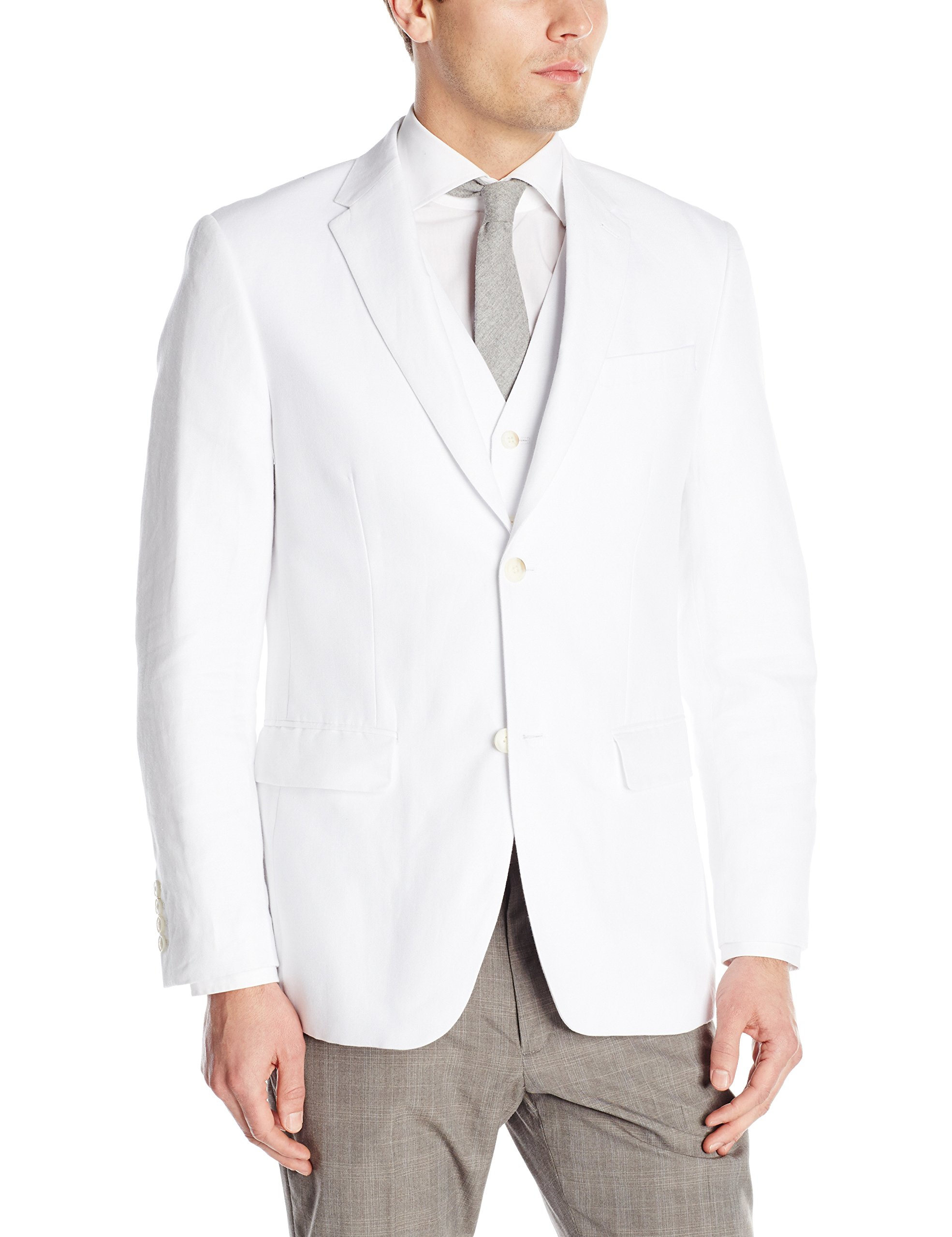 Perry Ellis Men's Linen Suit Jacket, Bright White, 40/Medium by Perry Ellis