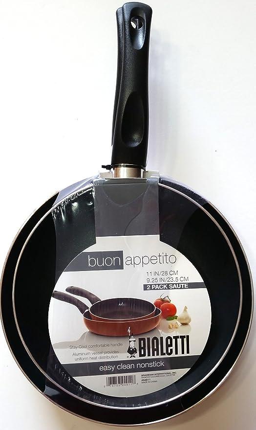 Bialetti Buon Appetito 2 unidades de cobre de aluminio antiadherente fácil de limpiar sartenes con tapa ...