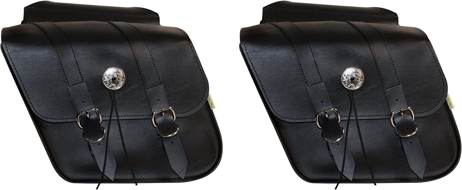 10 Liter Each//20 Liter Total Capacity Universal Fit Black Dowco Willie /& Max 58707-00 Deluxe Series: Synthetic Leather Compact Slant Motorcycle Saddlebag Set