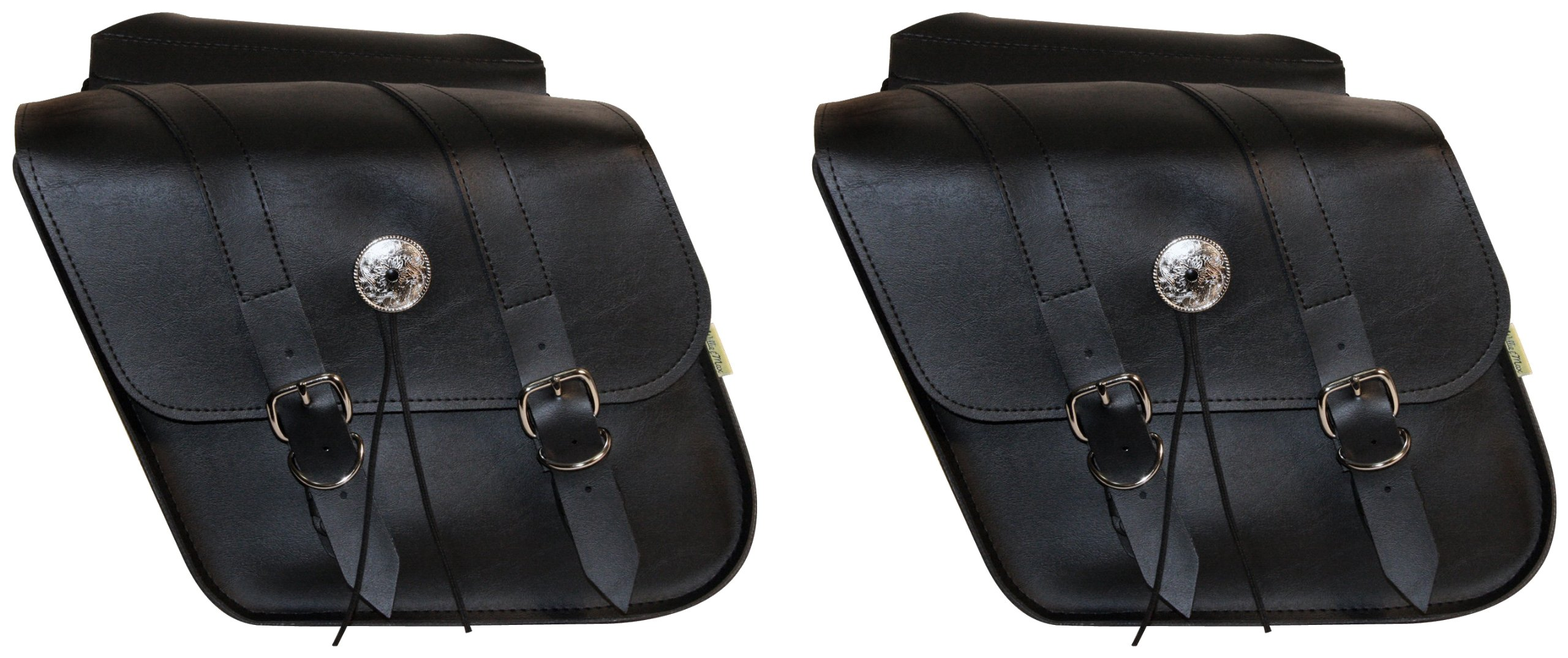 Willie & Max By Dowco - Deluxe Series - Compact Slant Motorcycle Saddlebag Set - Lifetime Limited Warranty - UV Protection - Maintenance Free Synthetic Leather - Black -Up to 10L Each/20L Total Capacity [ 58707-00 ]