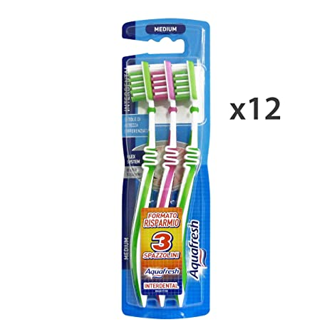 Set 12 AQUAFRESH Spazzolino interdental *3 pz. medio - Cepillo de dientes