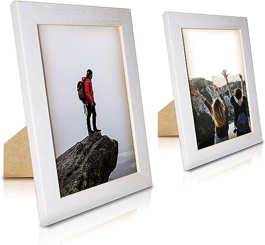 ART&FOTO BARCELONA Portarretratos de Fotos Hecho a Mano 100% Artesanal de Madera y Cristal tamaño 13x18 decoración hogar Madera Vintage Blanco Fabricado en España (Pack de 2 13_x_18 Blanco): Amazon.es: Hogar