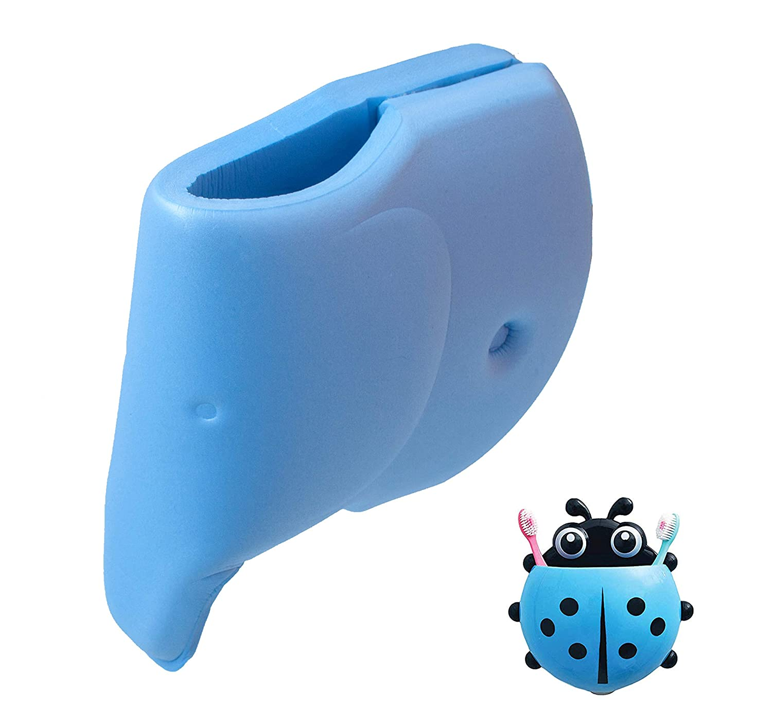 Bath Faucet Cover + Blue Ladybug Kids Toothbrush Holder - Tub Spout Cover for Baby - Bathtub Faucet Protector for Baby - Silicone Soft Spout Cover Baby Blue Elephant - Child Bathroom Cute Accessories Comfylife