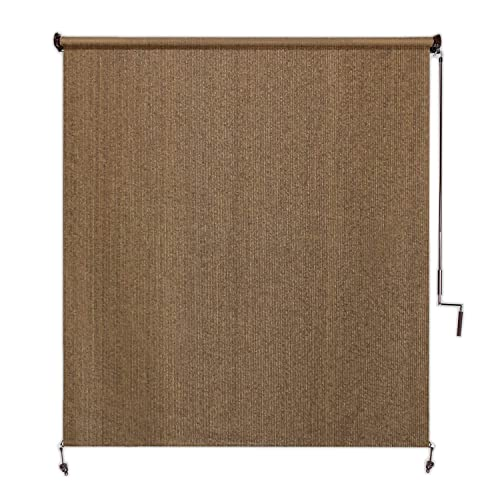 Coolaroo Exterior Roller Shade, Cordless Roller Shade with 95 UV Protection, No Valance, 6 W X 8 L , Walnut