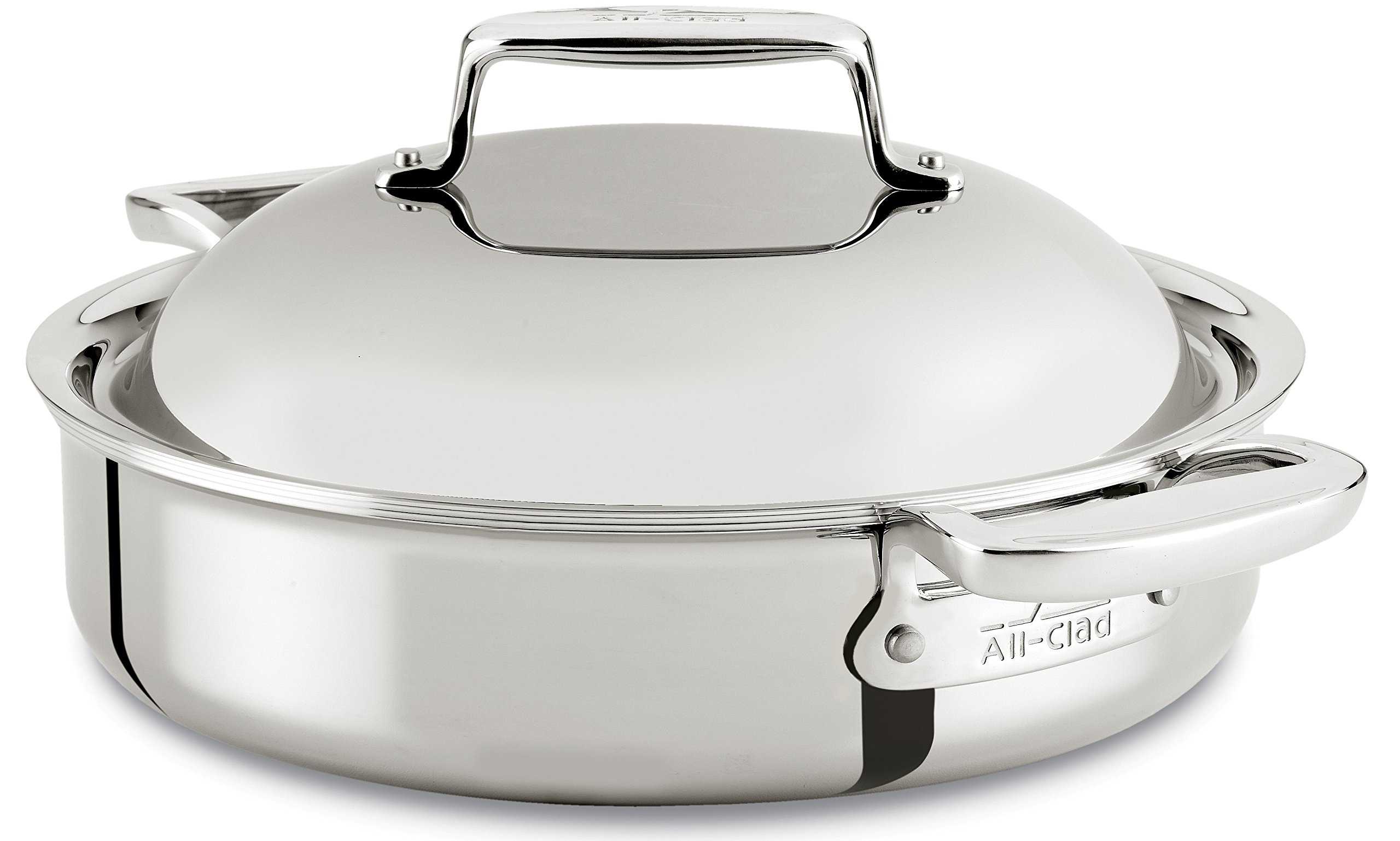 All-Clad SD7540416 D7 18/10 Stainless Steel 7-Ply Bonded Construction Dishwasher Safe Oven Safe Braiser Dutch Oven, 4-Quart, Silver