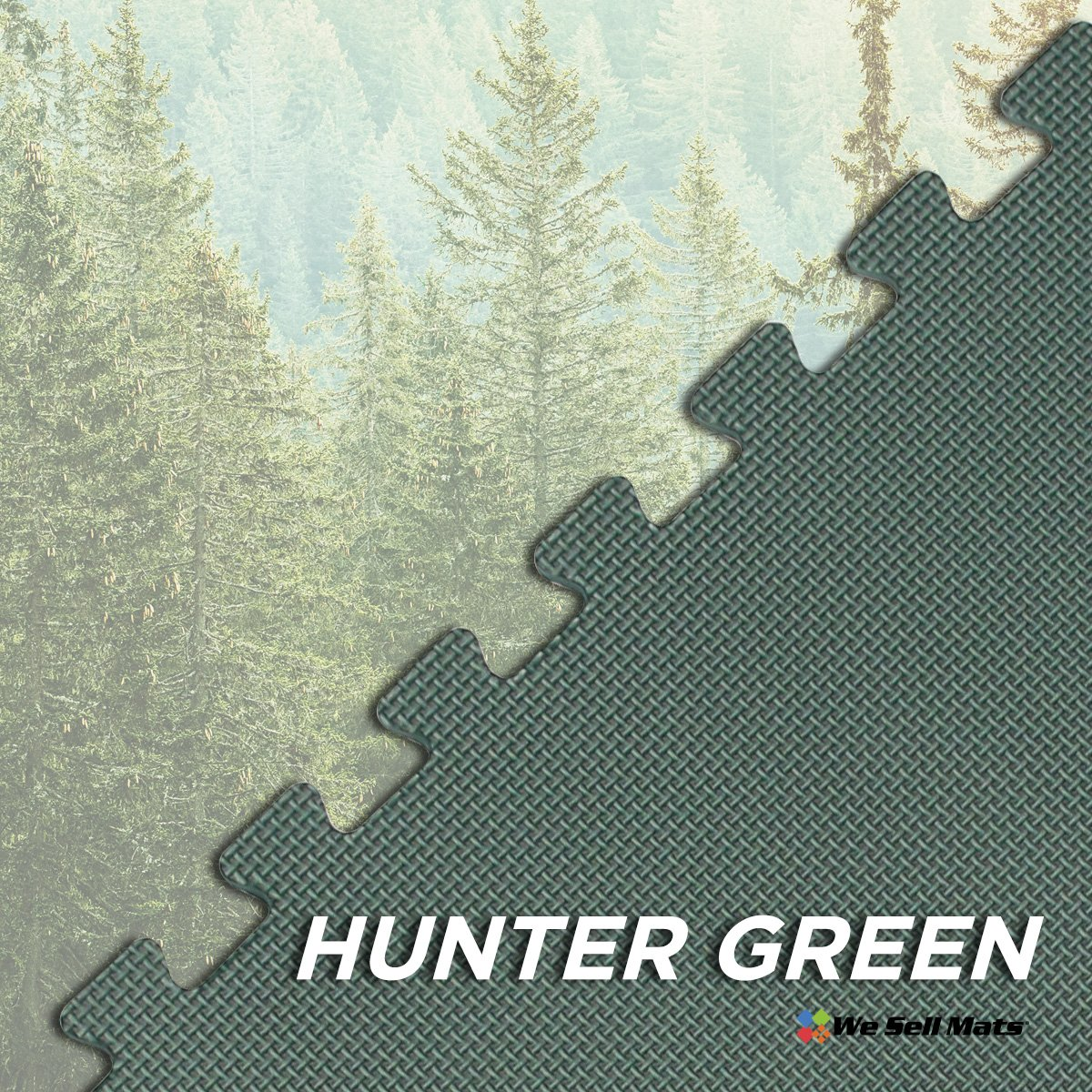 We Sell Mats Hunter Green 16 Sq Ft (4 Assorted Tiles + Borders) Foam Interlocking Anti-Fatigue Exercise Gym Floor Square Trade Show Tiles by We Sell Mats (Image #5)