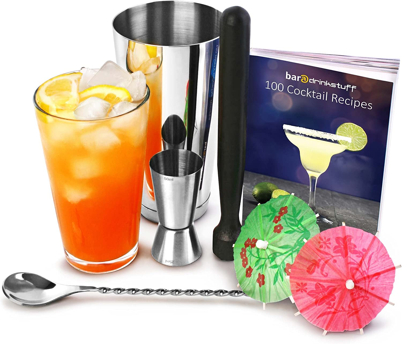 bar@drinkstuff Professional Recipe Book Set with Boston Shaker 2 Mixing Spoon /& 24 x Paper Umbrellas Kit Muddler Jigger Measure Cocktail Making Pack