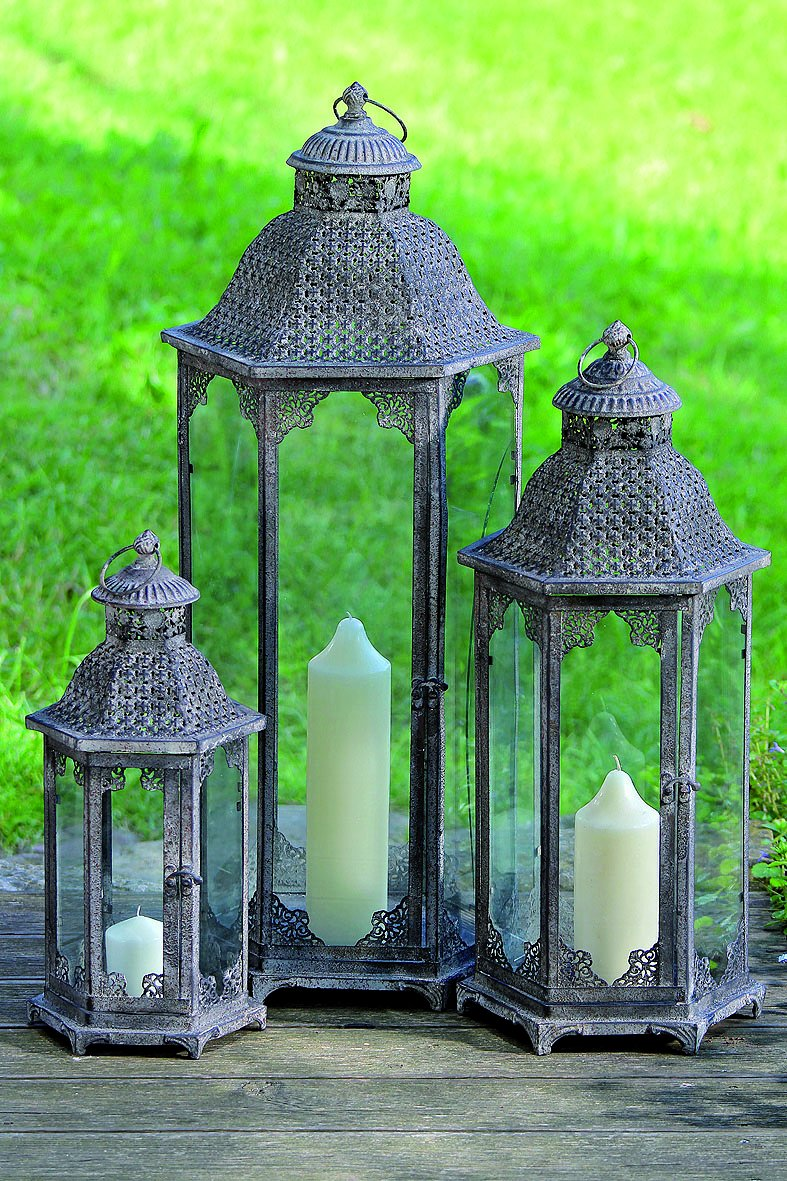 The Grand Tour Temple Lanterns, Set of 3, Tall Floor Hurricanes, Distressed Finished Metal, Vintage Gray, Rustic Patina, For LED or Wax Candles, 17, 24 and 32 Inches Tall, By Whole House Worlds