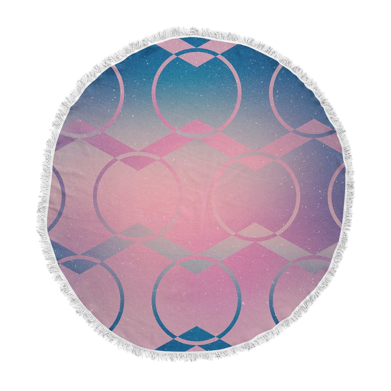 Kess InHouse Matt Eklund Switched Pink Blue Round Beach Towel Blanket ME1043ART01