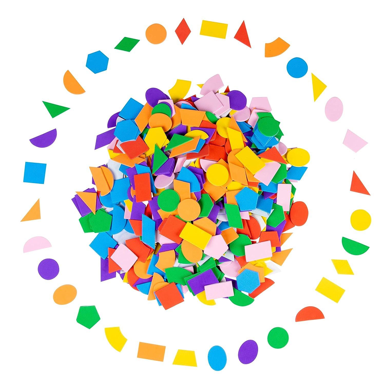 700 St/ück selbstklebende Schaumstoff-Formen Schaumstoff-Aufkleber mehrfarbig f/ür Kinder Bastelzubeh/ör geometrische Form