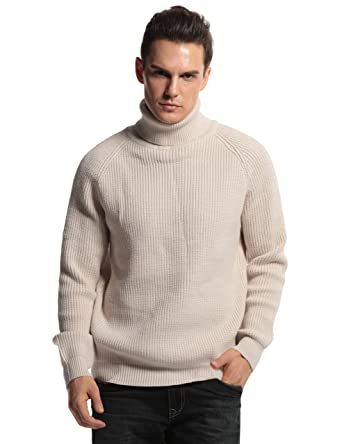 Prettyguide Men S Turtleneck Sweater Ribbed Cable Knit Pullover