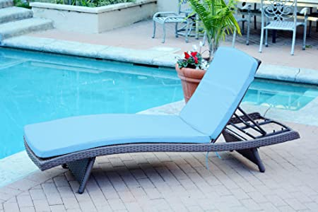 Jeco WL-1_CL1-FS027 Wicker Adjustable Chaise Lounger with Sky Blue Cushion