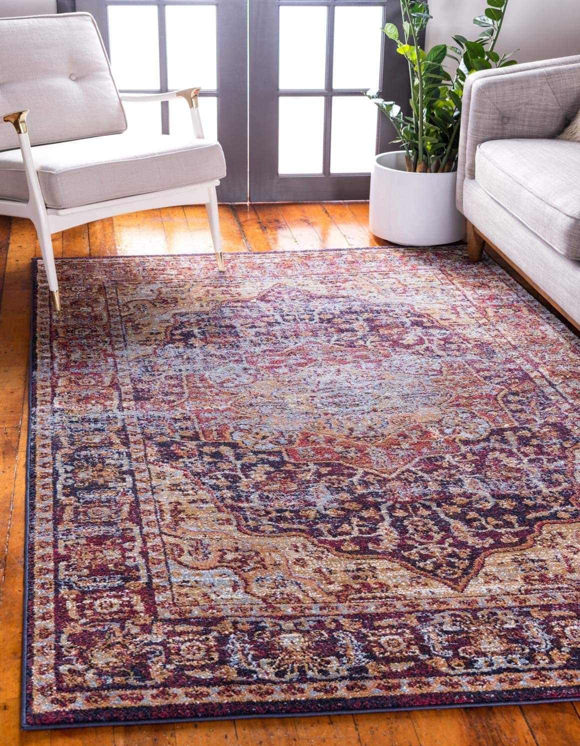 Unique Loom Augustus Collection Boho Traditional Vintage Rust Red Area Rug 7 0 x 10 0