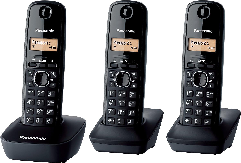 Panasonic KX-TG1613 - Kit de 3 teléfonos fijos digitales, negro (importado) [versión importada]