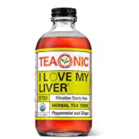 TEAONIC I LOVE MY LIVER - Herbal Tea Tonic - Detox Tea - Ginger Root - Hibiscus Tea - Dandelion Root Tea - Decaf tea - Rooibos Tea Organic - Milk Thistle Tea - 8 fl oz. Each - 12 Pack