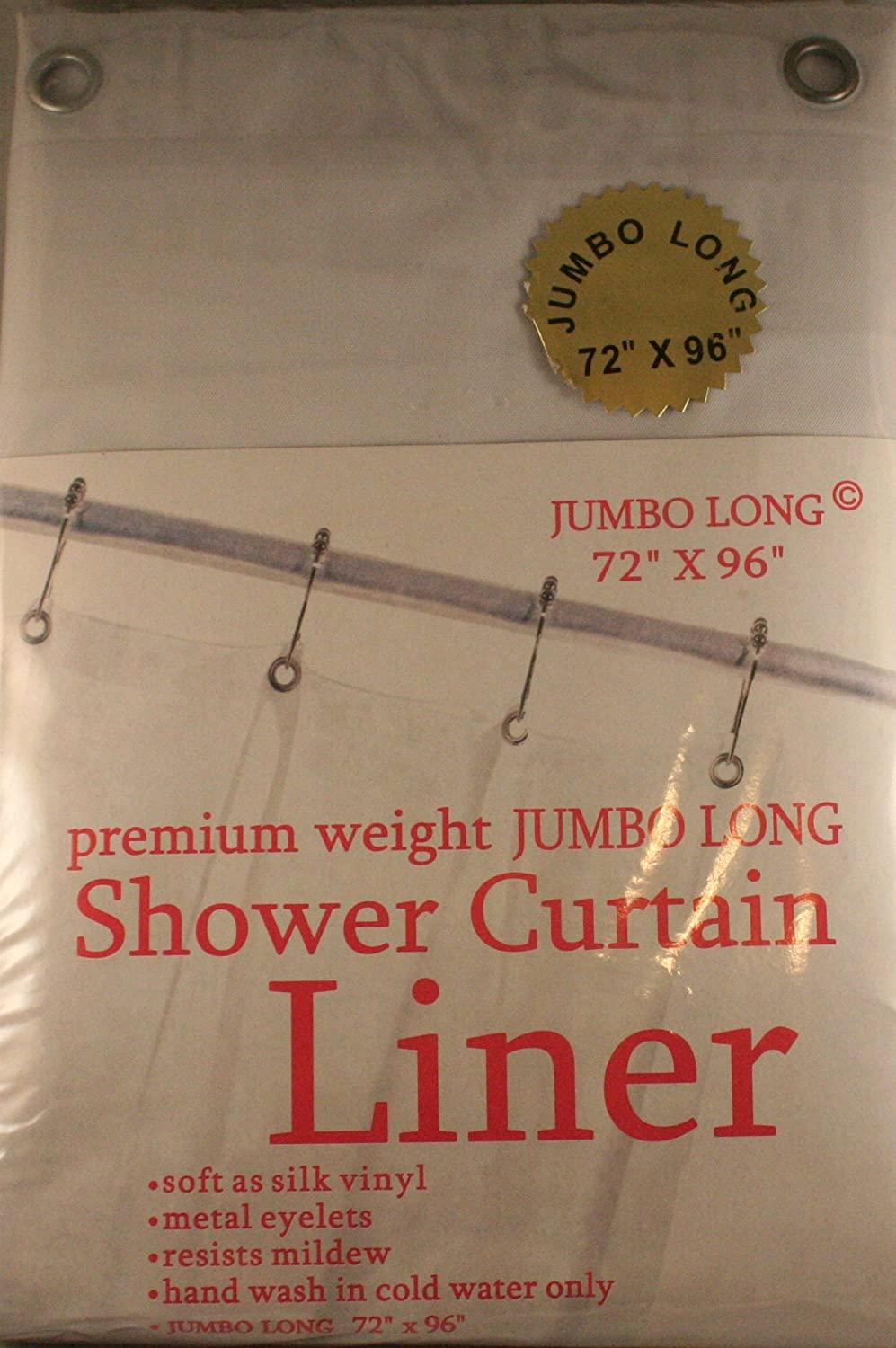 Carnation Home Fashions Jumbo Long Vinyl Shower Curtain Liner, 72-Inch by 96-Inch, White