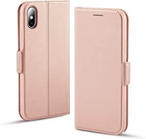 Aunote iPhone X Case, iPhone Xs Phone Case, Slim Flip/Folio Cover – Wallet Style: Made of PU Leather and TPU Inner (Lightweight, Feels Good) Full Protection for Apple iPhone 10/X/XS. Rose Gold