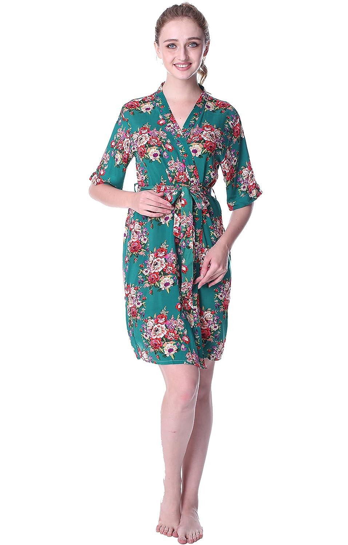 Mr & Mrs Right Women\'s Cotton Short Floral Kimono Wedding Robe For ...