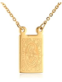 Men's Stainless Steel 18K Gold Plated Scapular Religious Necklace, 26""