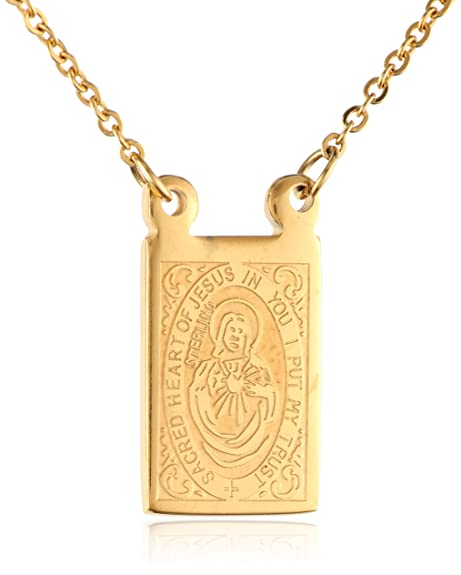 f7b9df797accf Men's Stainless Steel 18K Gold Plated Scapular Religious Necklace, 26