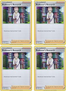 product image for Pokemon Card - Professor's Research: Professor Magnolia - Sword and Shield Base - x4 Card Lot Playset - 178/202 Holo Rare