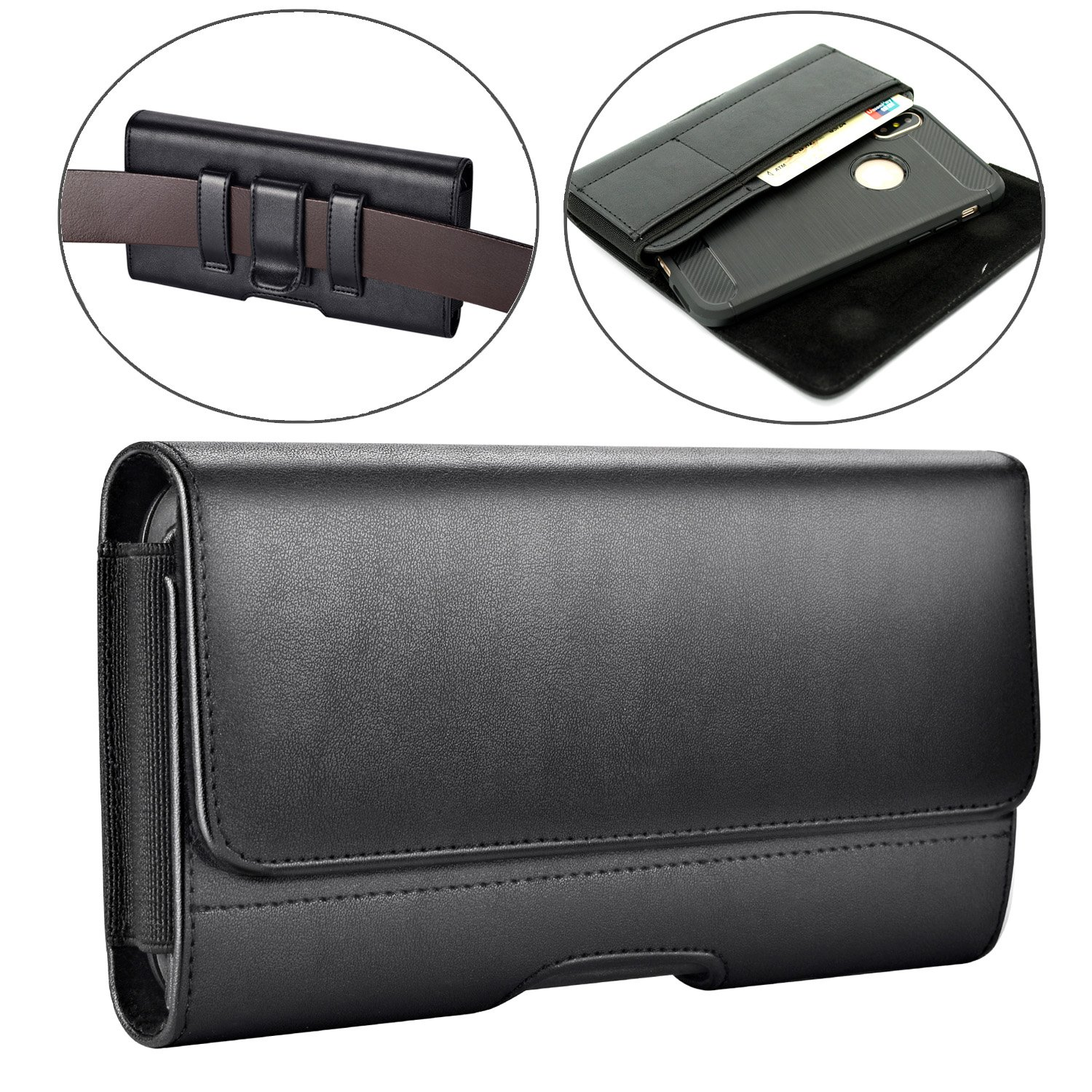 iPhone X Holster Case, Dlames Premium Leather Belt Clip Pouch Holster Case for Apple iPhone X / Galaxy S9 (Fit with a Thin Case) - Built In Card Slot Wallet Case - Black