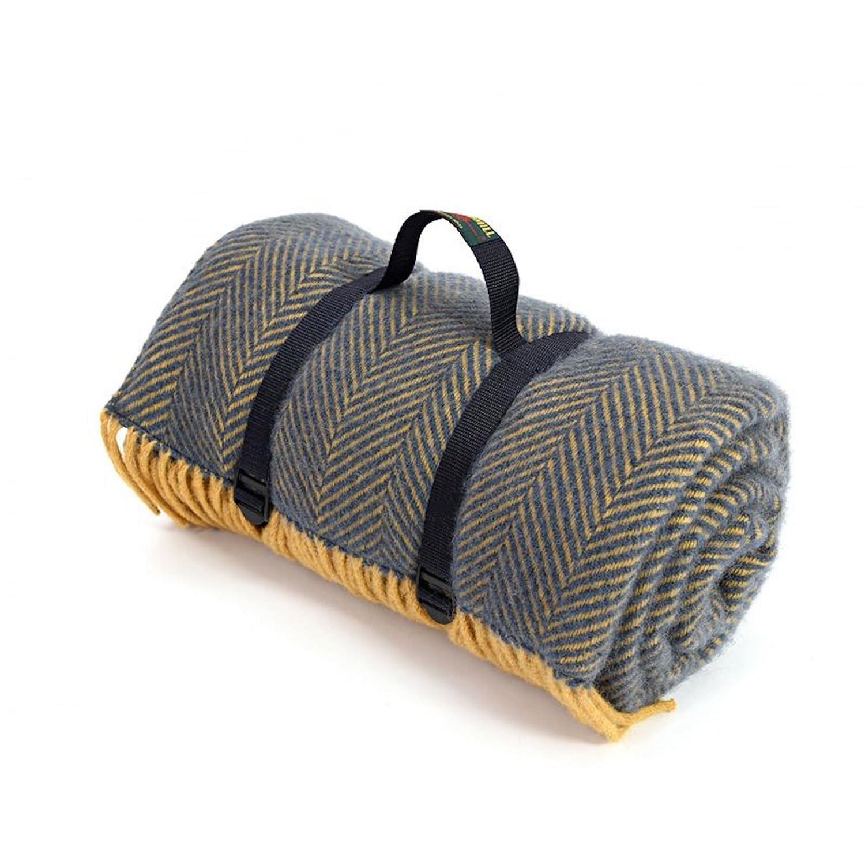 Herringbone Navy//Mustard Tweedmill Polo Picnic Rug with Waterproof Backing