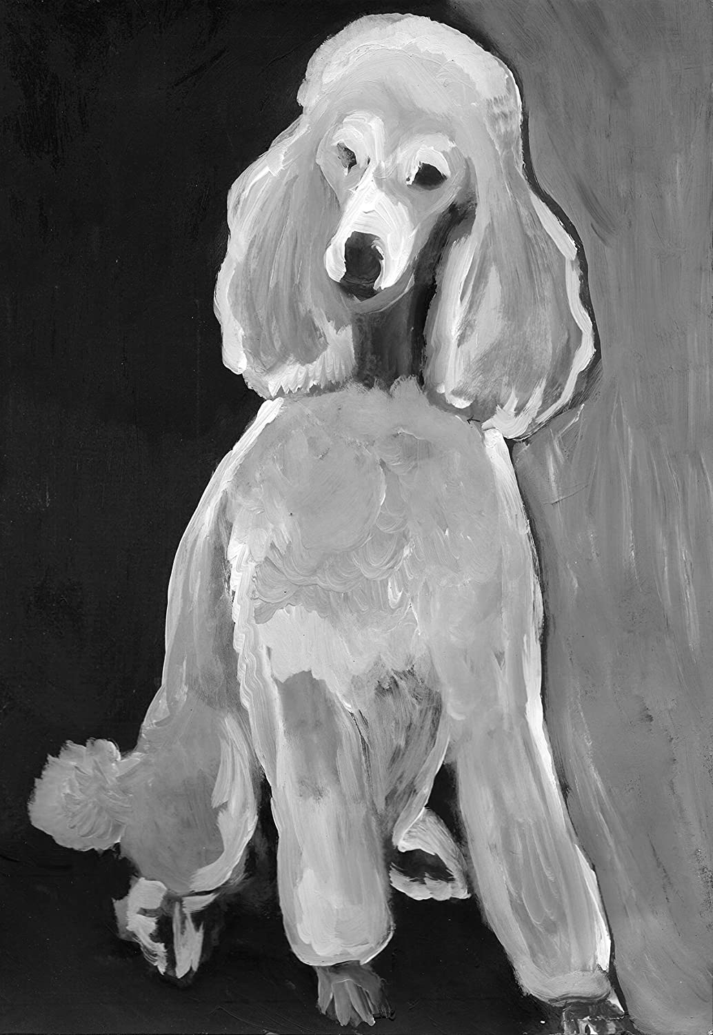 Poodle Art Print Two Tone Black White Poodle Mom Gift Idea Standard Poodle Lover Neutral Home Decor Art Dog Painting Signed By Oscar Jetson