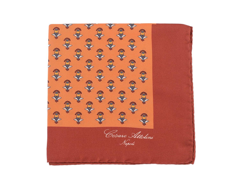 Cesare Attolini Orange Motif Silk Pocket Square Handmade In Italy