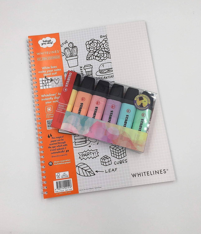 Stabilo Pastel Highlighters Pk6 Plus Whitelines Link - Cuaderno cuadriculado (A4, papel de 80 g/m²) Pack 6 Stabilo Pastel Highlighters PLUS 1 Book: Amazon.es: Oficina y papelería