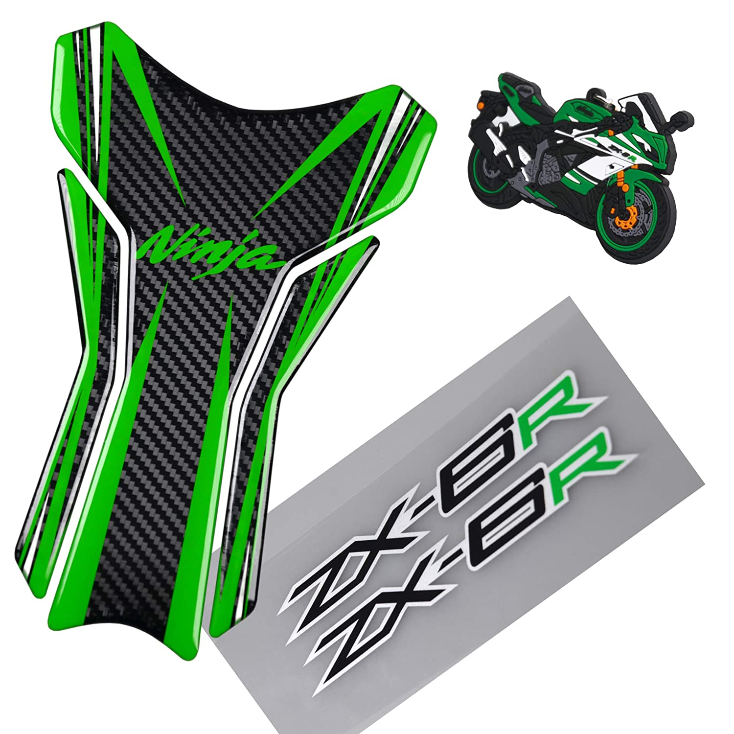 5D Carbon Fiber Motorcycle Green Logo Decal Vinyl Tank Protector Tank Pad For Kawasaki Ninja ZX6R 2pcs Reflective Motorcycle Ninja Zx6r Decal Sticker ...