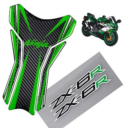 Amazoncom 5d Carbon Fiber Motorcycle Green Logo Decal Vinyl Tank