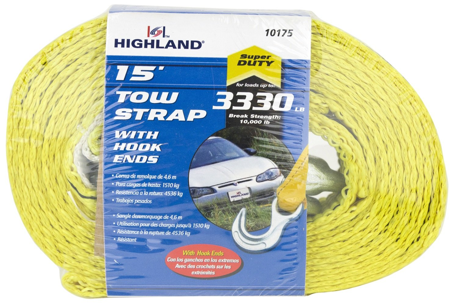 Yellow 15 Tow Strap with Hooks 1017500 Highland 1 piece BLK:10175